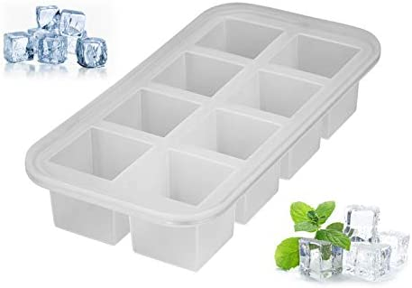 [Gesponsert]Levivo Silikon Eiswürfelform für 8 Eiswürfel á 5 x 5 x 5 cm, Antihaft Eiswürfelbehälter, Eiswürfelsilikonform, Silikoneiswürfelform, Eiswürfel Form Silikon, Eiswürfelbereiter Semi transparent, Eisform