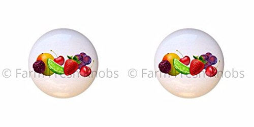 SET OF 2 KNOBS - Fruit Medley - Food and Drink - DECORATIVE Glossy CERAMIC Cupboard Cabinet PULLS Dresser Drawer KNOBS