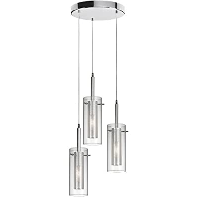 Dainolite 33963R-CM-PC 3-Light Pendant-Round Canopy, Clear Glass with Mesh Insert, Polished Chrome