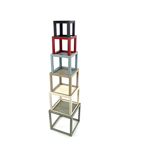 Benjara Stackable Wooden Corner Shelf with 6 Levels Storage, Multicolor
