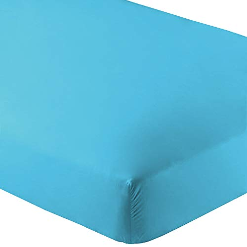 Bare Home Fitted Bottom Sheet Twin Extra Long - Premium 1800 Ultra-Soft Wrinkle Resistant Microfiber, Hypoallergenic, Deep Pocket - (Twin XL, Aqua)
