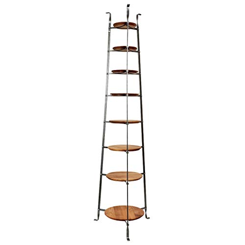 (Enclume CWS8 W/Boards 8-Tier Gourmet Cookware Stand with Alder Shelves, Hammered Steel)