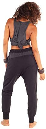 Femmes Noir Harem Jersey Comfy Entrejambe Bas Pantalons Poches zippées Alternative