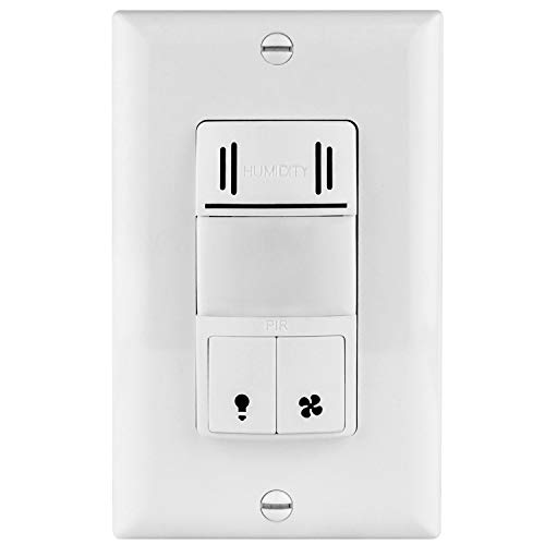 TOPGREENER TDHOS5 Humidity Sensor Switch, Dual Tech Humidity PIR Motion Sensor Switch for Separate Fan and Light Control, Bathroom Fan Timer Wall Switch, Neutral Required, ()