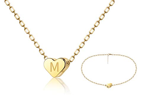 FYBLYCOO Initial M Necklace Anklet for Women - Tiny 14K Gold Filled Love Heart Charm Pendant Letter Necklace for Daughter Kids Mom Best Jewelry Gifts