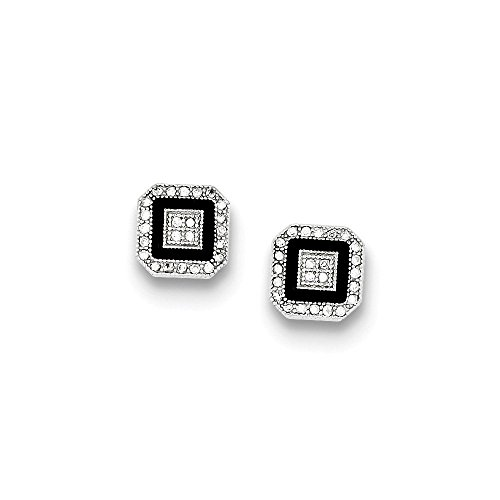 Pave Ring Enamel Tone Two (Sterling Silver CZ Pave Black Enamel Square Post Earrings)