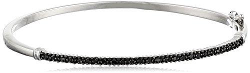 Silver Black Diamond Bangle Bracelet (1/4 Cttw) (Black Diamond Bangle Bracelet)