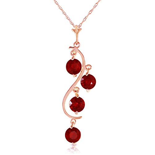 14K Solid Rose Gold with 2 ct Natural Ruby - Rubies Drop Dream Catcher Pendant Necklace (24)