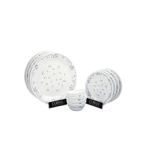 Corelle Livingware Provincial Glass Dinner Set, 12-Pieces, White/Blue