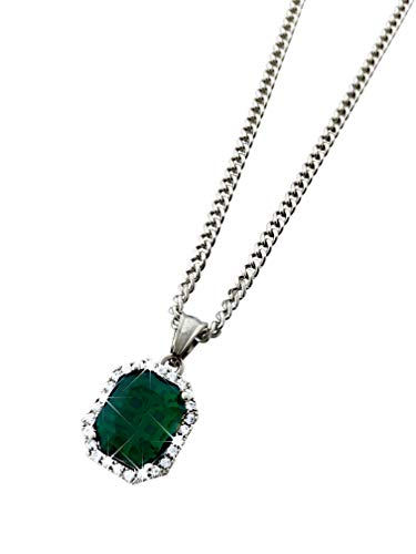 Exo Jewel Diamond Gem Stone Stainless Steel Pendant Necklace with 24