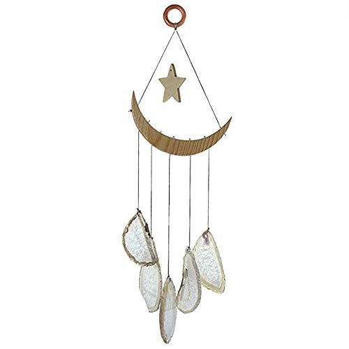 "15.7""-19.7"" Blue Agate Slices Wind Chime, Amazing Grace Wind Chime with 5 Agate Slices, Metal Crescent Moon and Star, Memorial Wind Chime, Great Gift for Parents, Friends, Home Decoration"