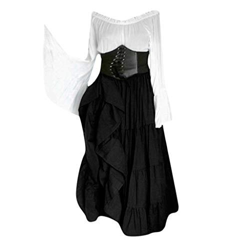 Sherostore ♡ Women's Renaissance Medieval Costumes Dress Trumpet Sleeves Gothic Retro Gown Victorian Costume Dress Black