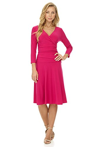 Rekucci Women's Slimming 3/4 Sleeve Fit-and-Flare Crossover Tummy Control Dress (6,Watermelon)