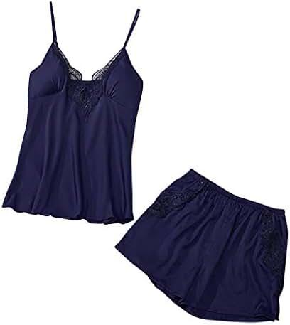 TIFENNY Pajamas Shorts Sets for Women V-Neck Eyelash Silk Lace Sexy Stain Camisole Pajamas Bowknot Shorts Set Sling