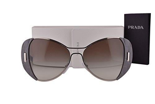 Prada PR60SS Sunglasses Silver Gray w/Gray Gradient Lens UR90A7 - Round Oversized Prada Sunglasses