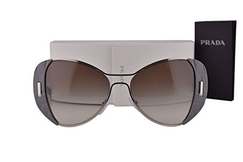 Prada PR60SS Sunglasses Silver Gray w/Gray Gradient Lens UR90A7 - Frame Prada Oversized Women's Plastic Sunglasses