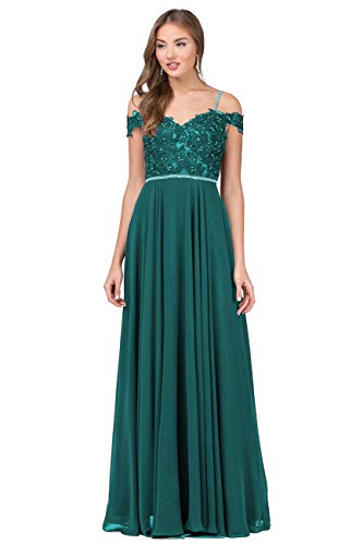 Nicefashion Women's Off The Shoulder Floor Length Evening Prom Dresses Beaded Lace Formal Gown Peacock US6
