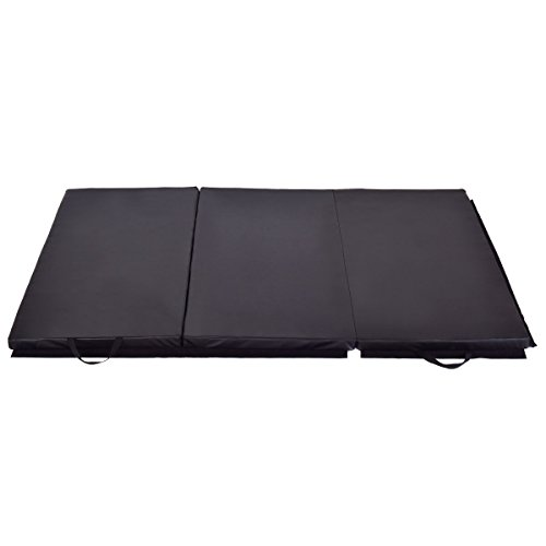 Exercise Mat 6′ x 4′ Tri-Fold Gymnastics Mat Thick Folding Panel Gym Fitness Black with Ebook