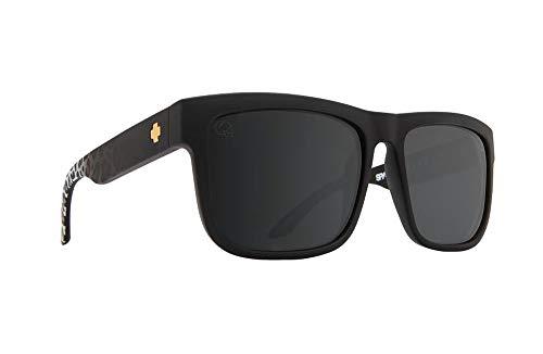 (Spy Optic Discord Sunglasses Matte Black Leopard Fade w/Happy Grey Green Silver Flash Lens + Sticker)