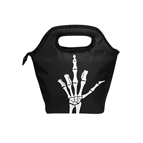 WXLIFE Skeleton Middle Finger Black Insulated Zipper Lunch