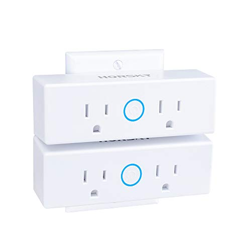 - Smart Plug 2 in 1,Horsky Wireless WiFi Smart Dual Outlet Remote Control Individually Works with Google Home, Alexa, Echo Dot for Voice Control (15A 2pack)