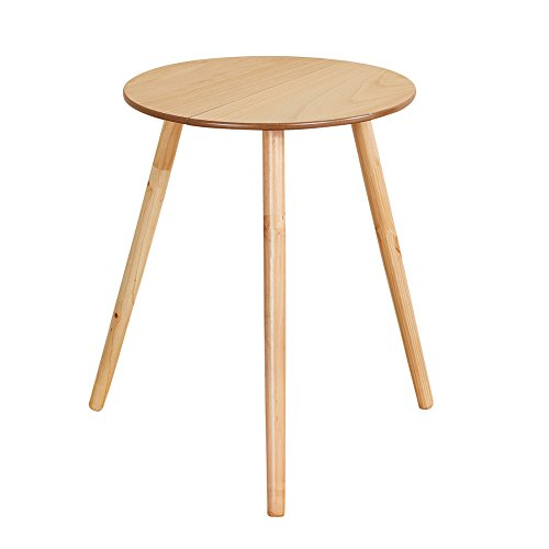 Collections Etc Wooden Round Side Accent Table, 20