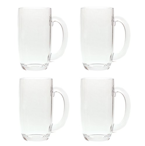 QG 21 Ounces Clear Acrylic Plastic Drinking Beer Mug Set of 4 -