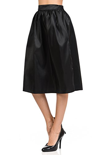 Womens Skirts Gathered midi Skirts with Two Side Pockets Knee Length 5 Sizes (S-XXL)