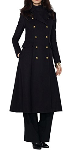 AZIZY Women's Fashion Black Lapel Double Breasted Slim Wool Pea Maxi Long Trench Coat L ()