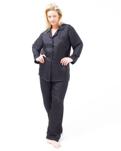Pijamas de seda mezcla de clásicos Negro