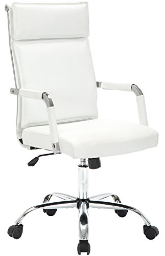 GTP Office Chair Modern Conference Executive Swivel Chairs Ergonomic Design PU Leather Computer Desk Chair (White) by GTPOFFICE