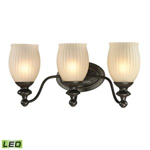 ELK 11652/3-LED, Park Ridge Blown Glass Wall Vanity Lighting, 3 Light LED, Polished Nickel
