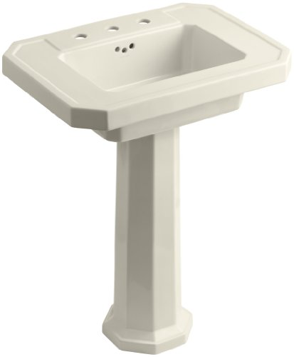 "KOHLER K-2322-8-47 Kathryn Pedestal Bathroom Sink with 8"" Centers, Almond"