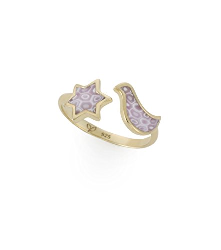 Adina Plastelina 24k Gold Plated Silver (Vermeil) Dove and Star of David Adjustable Ring, Rose Quartz Pattern Size 6-7