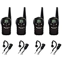 4-PACK Midland LXT118 FRS/GMRS 2-Way Radios with AVPH4 Wrap Around Ear Headsets, Brand New Sealed