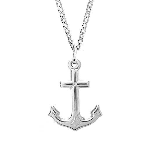 Sterling Silver Mariner Cross Anchor Charm Pendant Necklace 24 ()