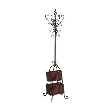 SEI metal Scroll Hall Tree Escudo con 2 cestas de mimbre de almacenamiento, Negro