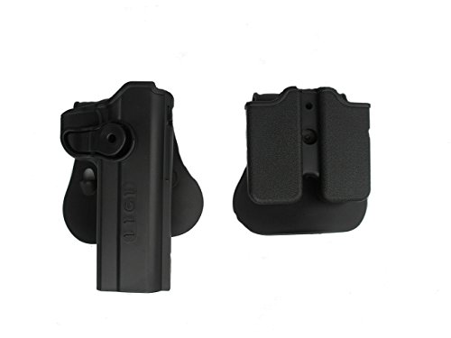 1911 Tactical Military Serpa Holster with Polymer Retention Roto Holster with Double Magazine container Fits Single stack 1911 Style .45, Ruger 90 & 97, Sig 220 & 245, Single Stack 9mm Only (Black)