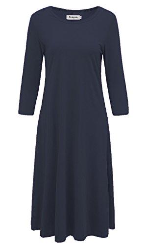 navy 3/4 sleeve midi dress - 2