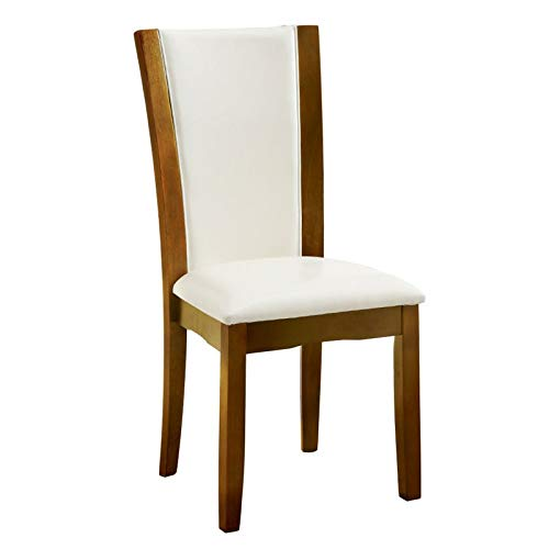 Furniture of America Archie Leatherette Upholstered Dining Chair, White, Set of 2
