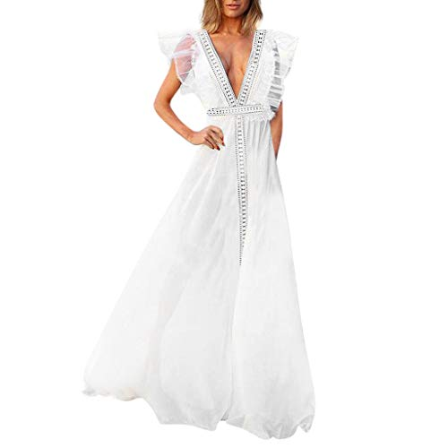 HIRIRI Women's Gowns Formal Solid Color Stitching Lace Ruffled V-Neck Long Swing Skirt Elegant Long Dress White