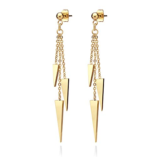 555Jewelry Womens Stainless Steel Triple Triangle Dangle Stylish Chain Chandelier Edgy Drop Post Stud Push Back Girls Ladies Teenagers Party Jewelry Fashion Accessory Earrings, Yellow Gold