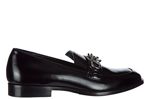 Prada Mocassins Femme en Cuir Noir