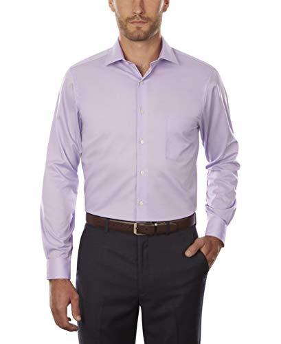 "Van Heusen Men's Flex Collar Regular Fit Solid Spread Collar Dress Shirt, Dahlia Purple, 18"" Neck 34"