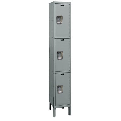 Hallowell UY1258-3A-HG Maintenance Free Quiet KD Metal Locker, Assembled, 1-Wide Grouping, 3 Tier, 24