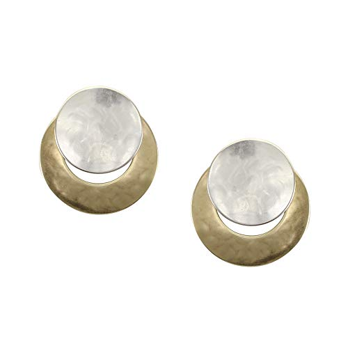 Marjorie Baer Disc Over Crescent Clip on Earring in Brass and Silver