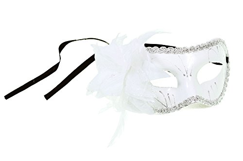 [Simplicity Sheer Lace and Floral Mardi Gras Masquerade Costume Mask,White-White] (Twisty The Clown Costume Mask)