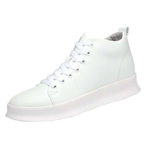 Zon Lorence Heren Casual Hoogte Toenemende Pu Lederen Veterschoenen Sneaker Schoenen 3.15 Groter Wit