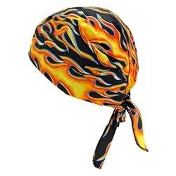 12PCK-Tie Hat Doo Rag W/ FR Treatment - FLAMES-One-Size