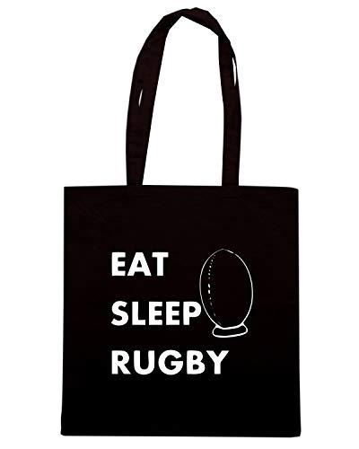 EAT LOGO Shopper Borsa RUGBY Nera 2 SLEEP Speed Shirt TRUG0101 OpqAAa